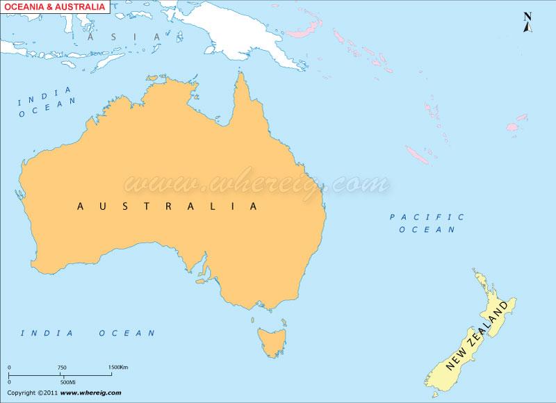 Australia Oceania Outline Map