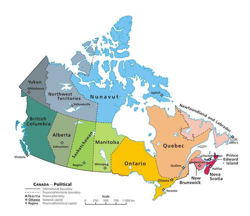 Canada Provinces and Capitals Map