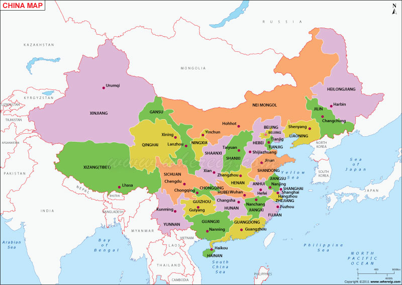 Map of China - China Map with States, Cities, Poltical Map China Map Location on