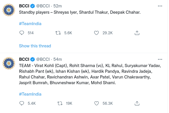 T20 World Cup India Teams
