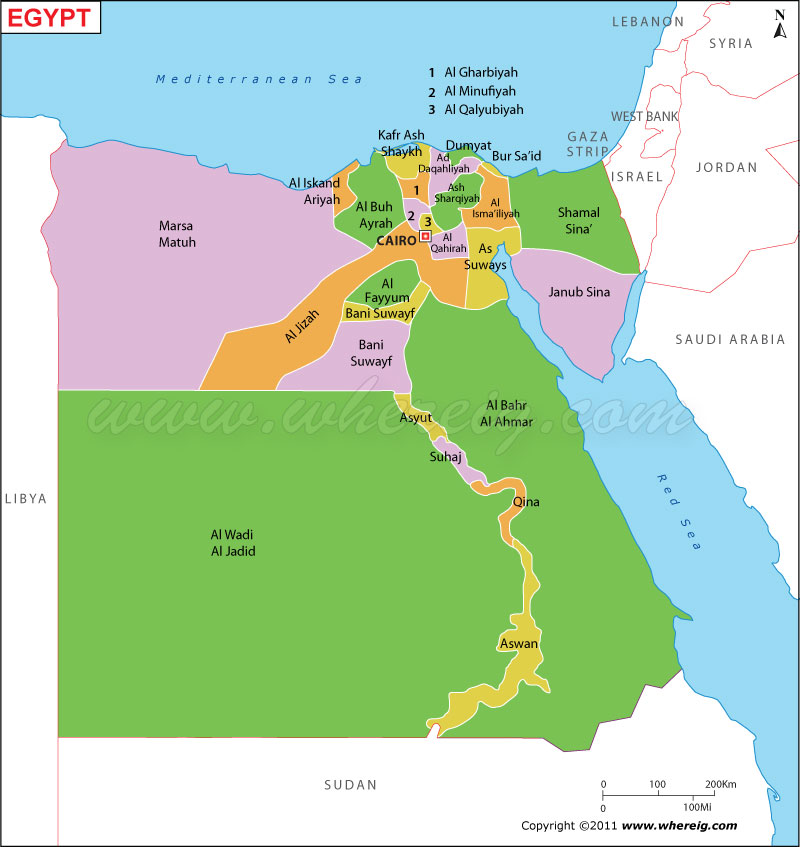 Map of Egypt - Egypt Map with States, Cities, Egypt Political Map