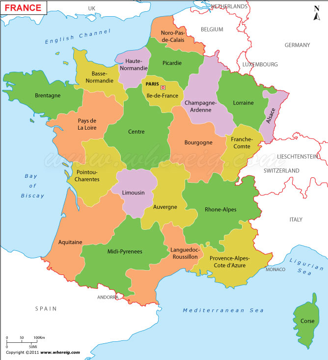 Map Of France With States.France Map Carte De France Political Map Of France