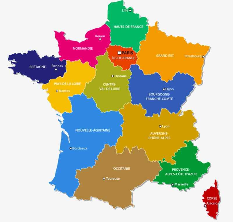 France Regions and Capitals Map