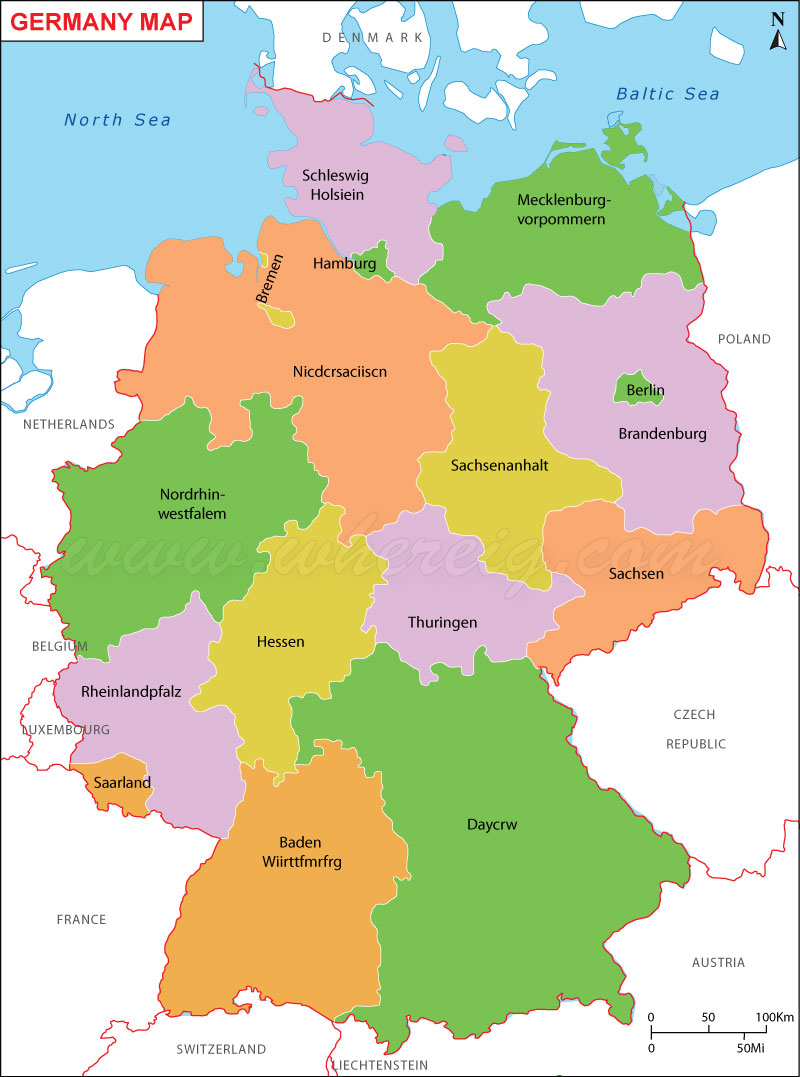 Germany Map (Deutschland-Karte), Map of Germany, Germany States Map