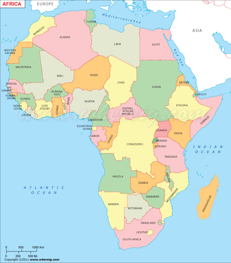 Africa Map, Political Map of Africa With Countries