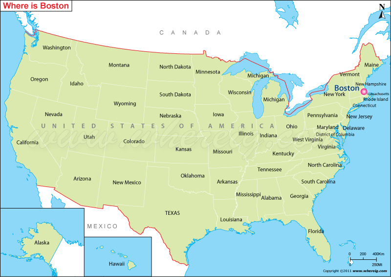 Where is Boston Located Location of Boston in US Map