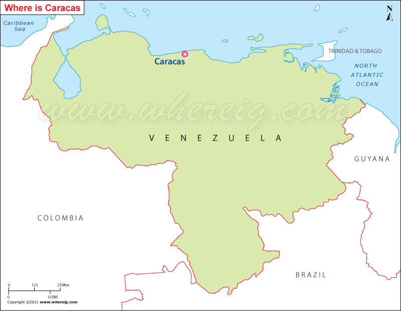 Where Is Caracas Located Location Map Of Caracas