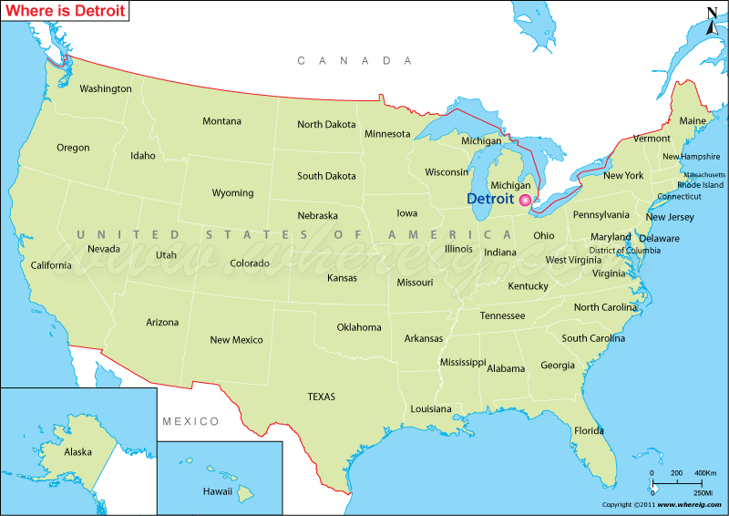 Where is Detroit Located, Detroit Location in US Map