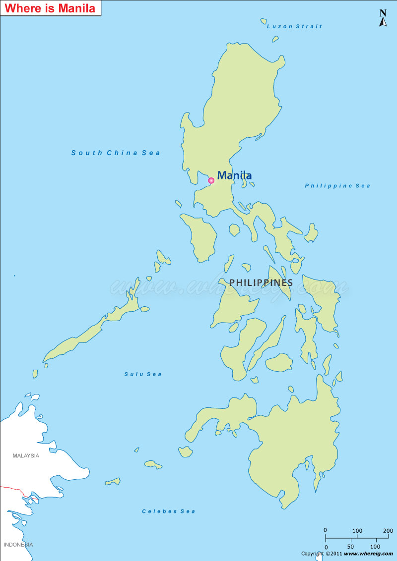 where is manila located manila location on map