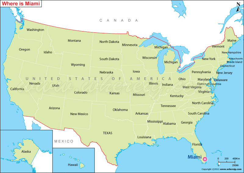Where is Miami Located, Miami Location in US Map