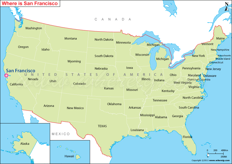 Where Is San Francisco Located In California USA San Francisco - Us map san francisco