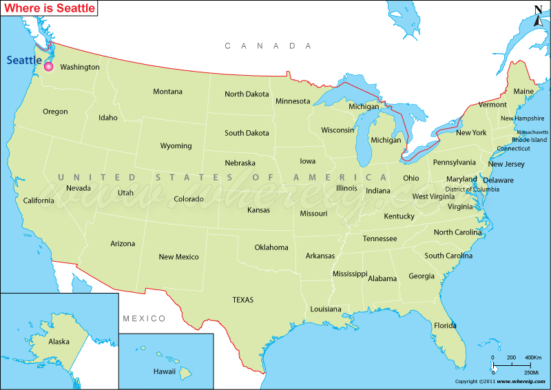Map Of America Showing Chicago.Where Is Seattle Located Seattle Location In Us Map