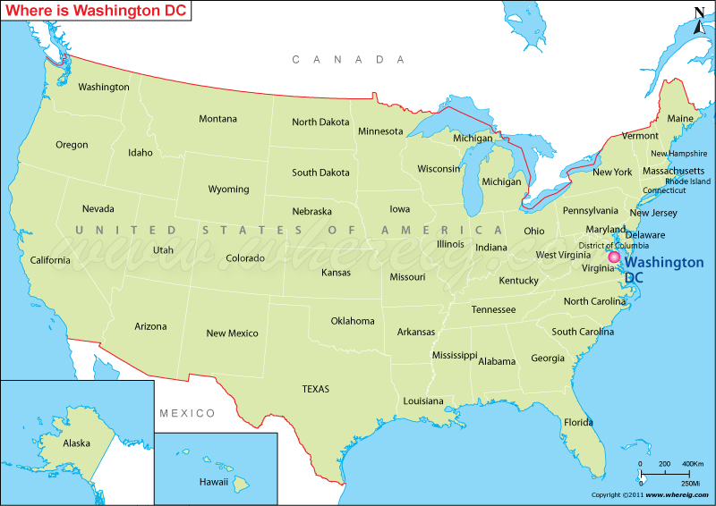Where is Washington DC Located, Washington DC Location in US Map