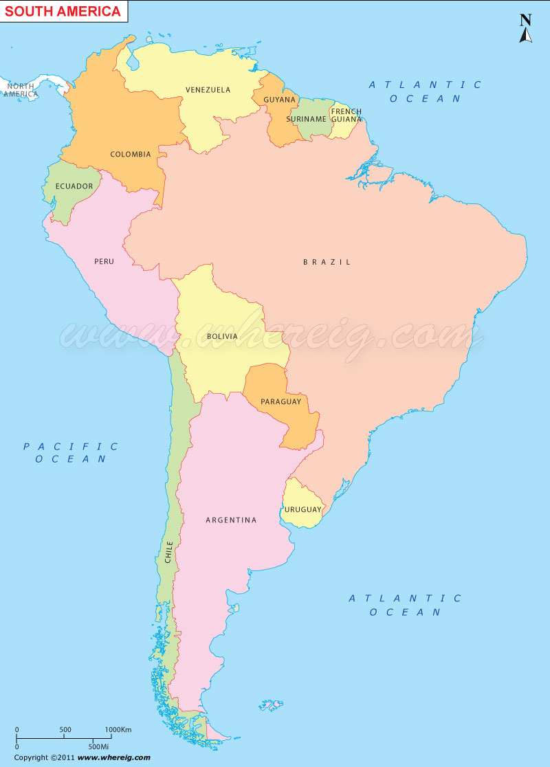South America Map, Political Map of South America With Countries