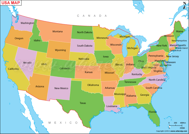 A Map Of The United States Of America.Us Map Usa Map Map Of United States Of America