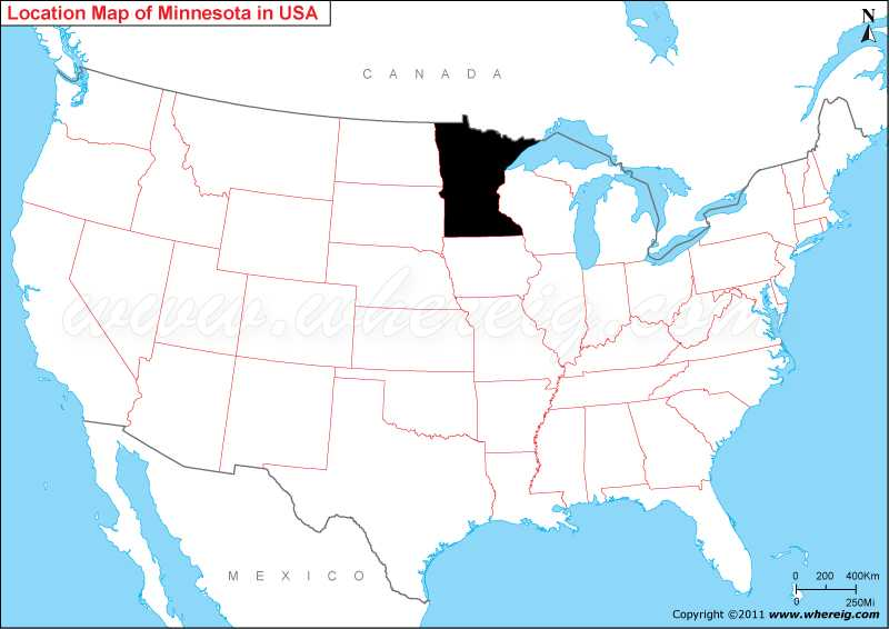 Where is Minnesota State Where is Minnesota Located in the US Map