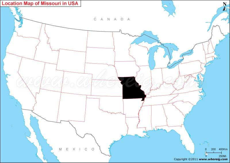 where is missouri map showing location of