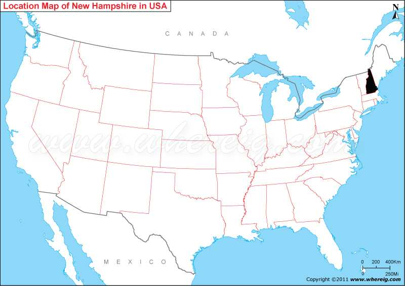 New Hampshire On Map Of Usa.Where Is New Hampshire State Where Is New Hampshire Located In
