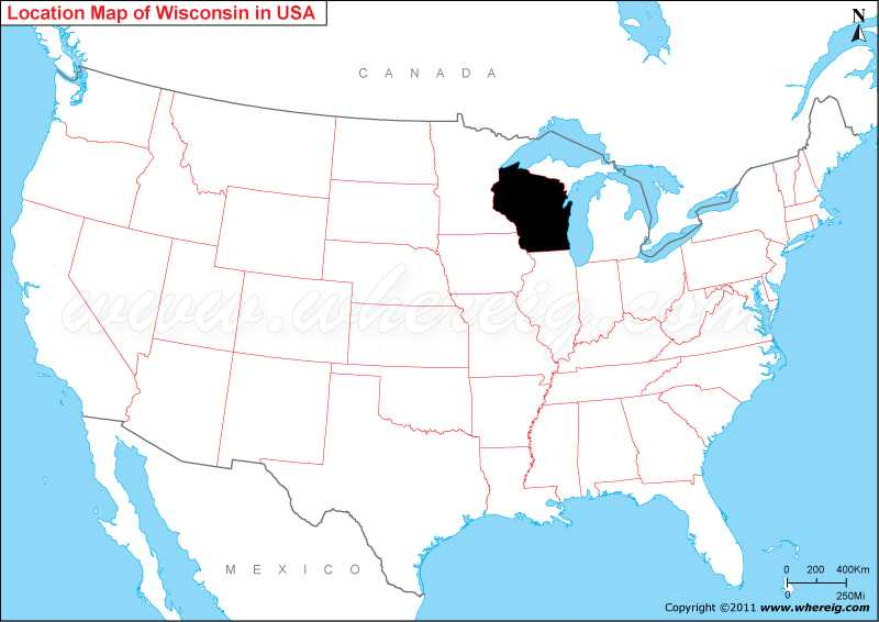 Where Is Wisconsin State Where Is Wisconsin On US Map - Wisconsin on a us map