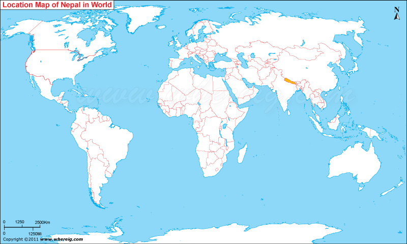Where is Nepal Located, Nepal Location in World Map