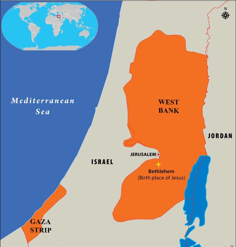 Where Was Jesus Born - Bethlehem Location Map