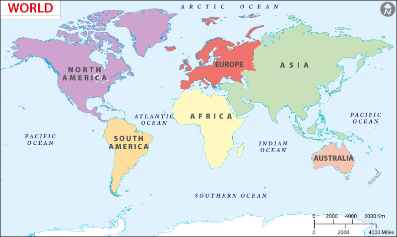 world map by continent 7 Contients Of The World World Continents Map world map by continent