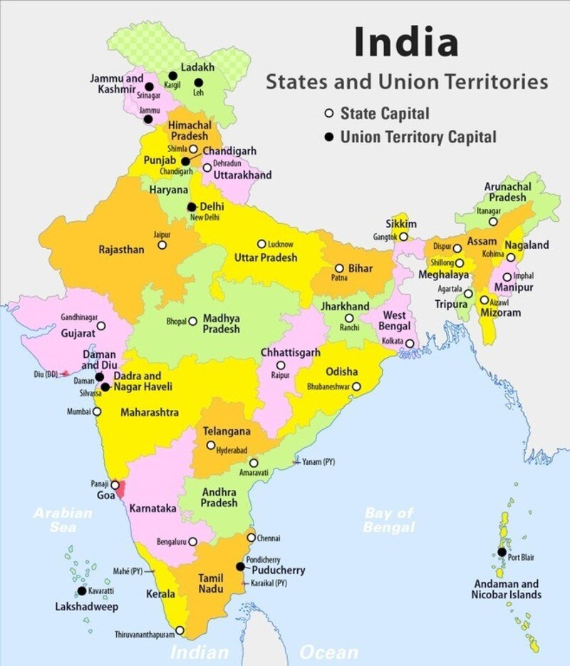 List of Indian States, Union Territories and Capitals on India Map