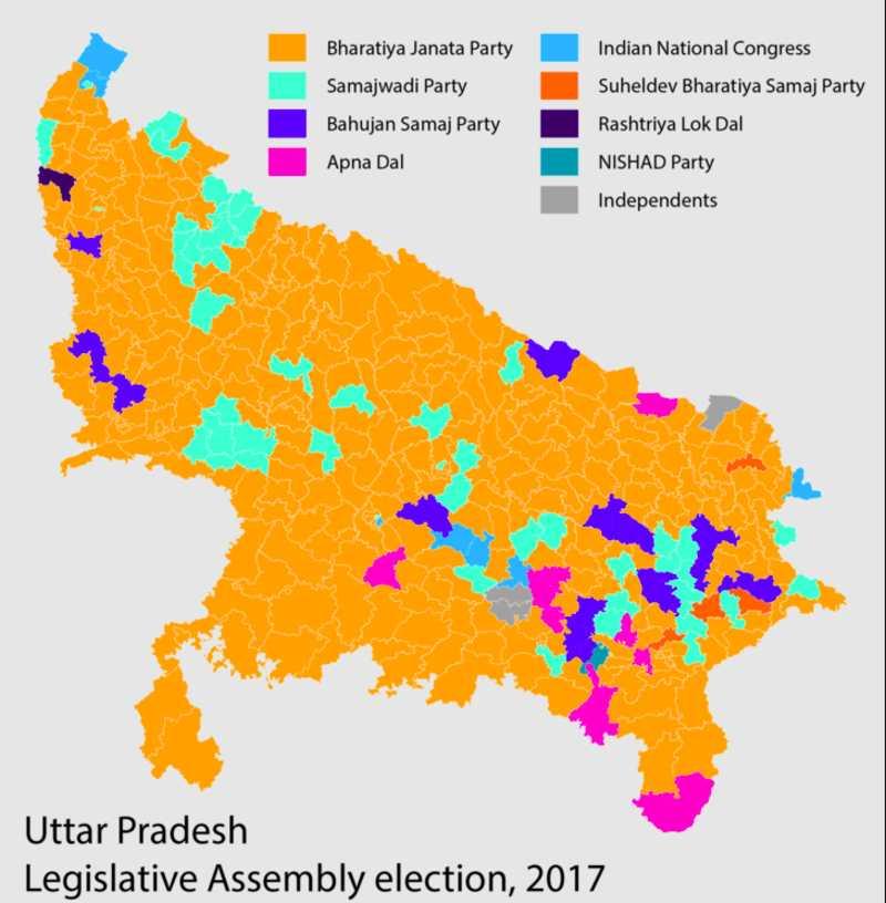 Uttar Pradesh Election Result Map