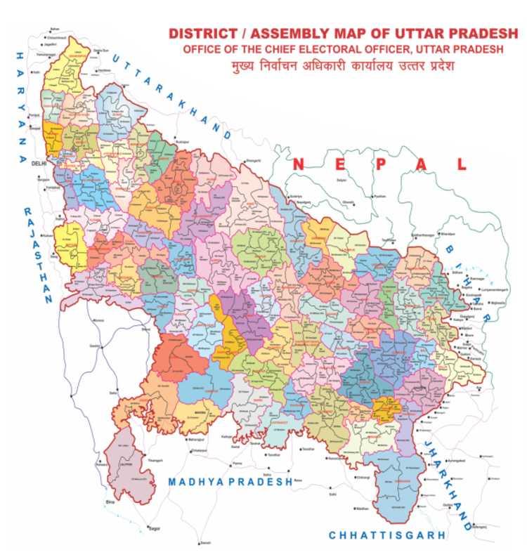 Uttar Pradesh (UP) Assembly (Vidhan Sabha) Constituencies Election Map