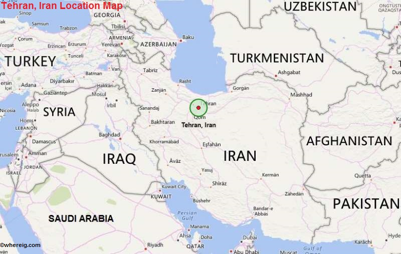 Where is Tehran Located Location of Tehran in Map