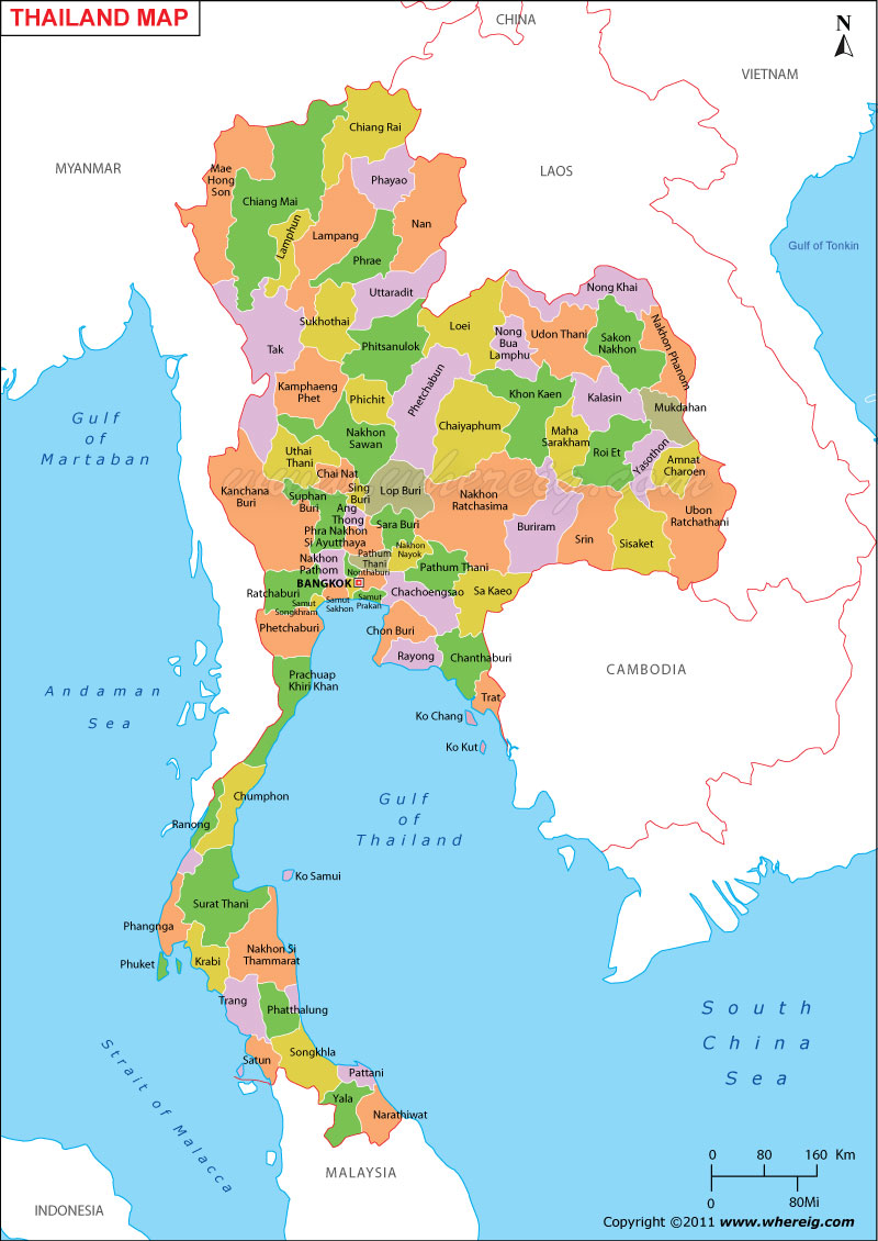 Thailand Map, Map of Thailand, Thailand Provinces Map