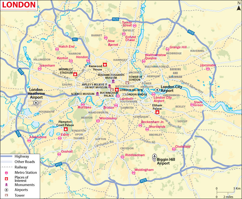 Map of London, the capital of England and the UK
