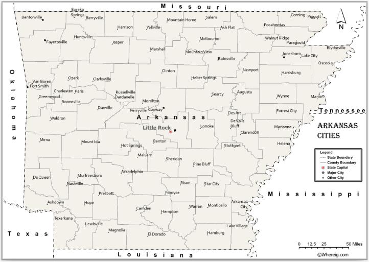 Map of Arkansas Cities, List of Cities in Arkansas