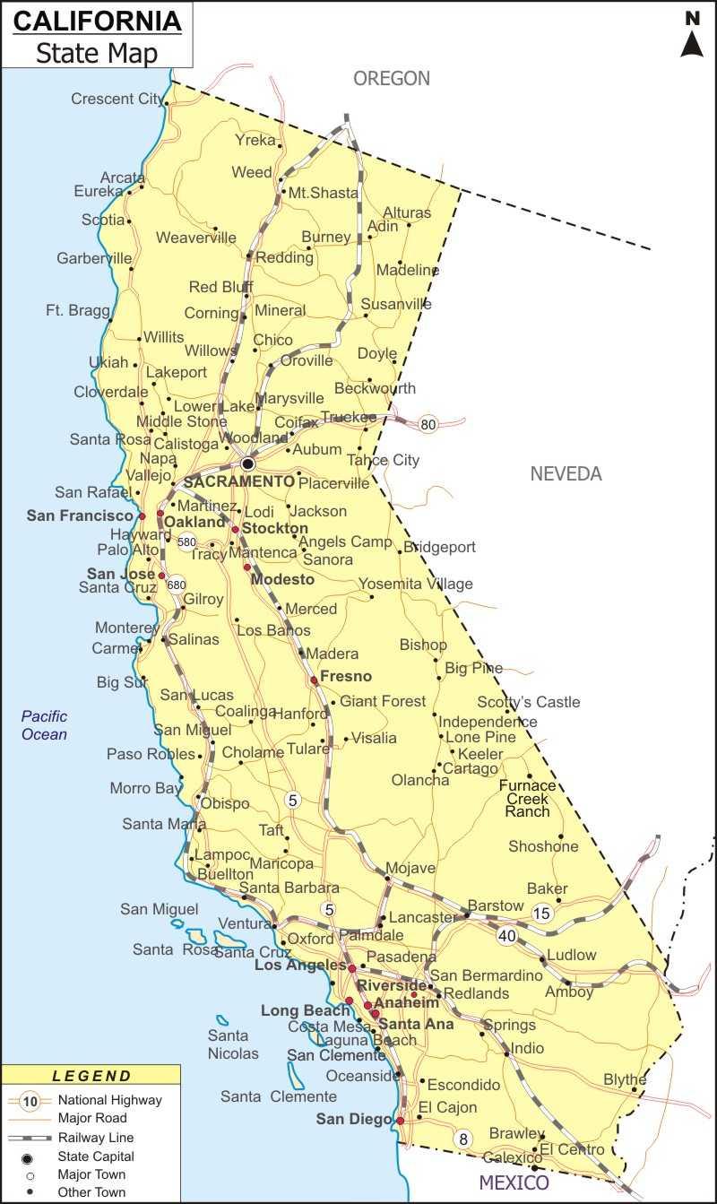 California Map Map Of California State Usa Ca Map