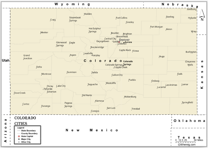 Map of Colorado Cities, List of Cities in Colorado