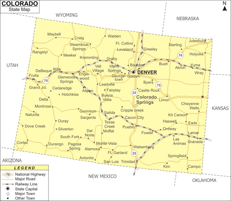 Colorado Map, Map of Colorado with Cities, Road, River, Highways