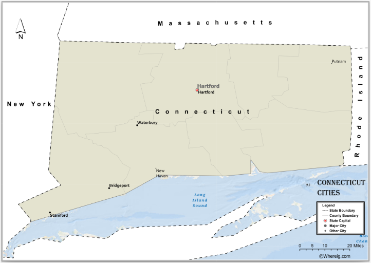 Map of Connecticut Cities, List of Cities in Connecticut