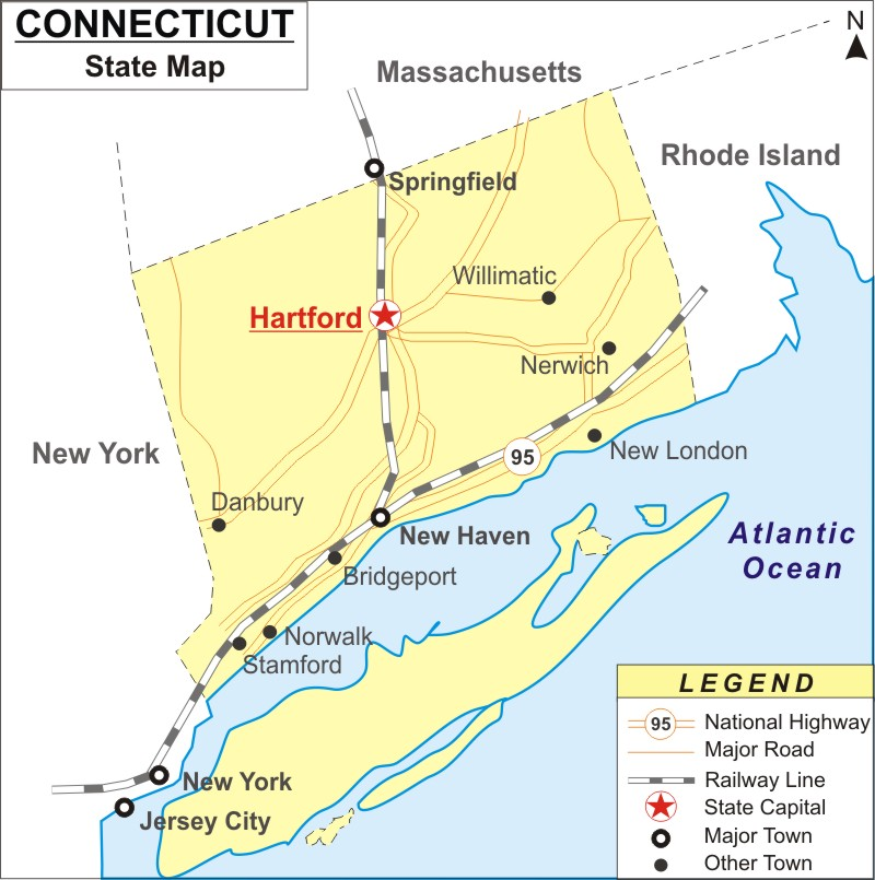 Connecticut Map, Map of Connecticut with Cities, Road, River, Highways