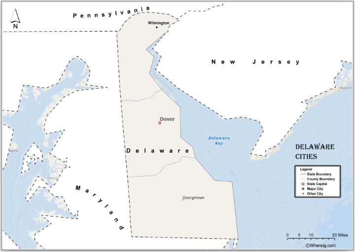 Map of Delaware Cities, List of Cities in Delaware