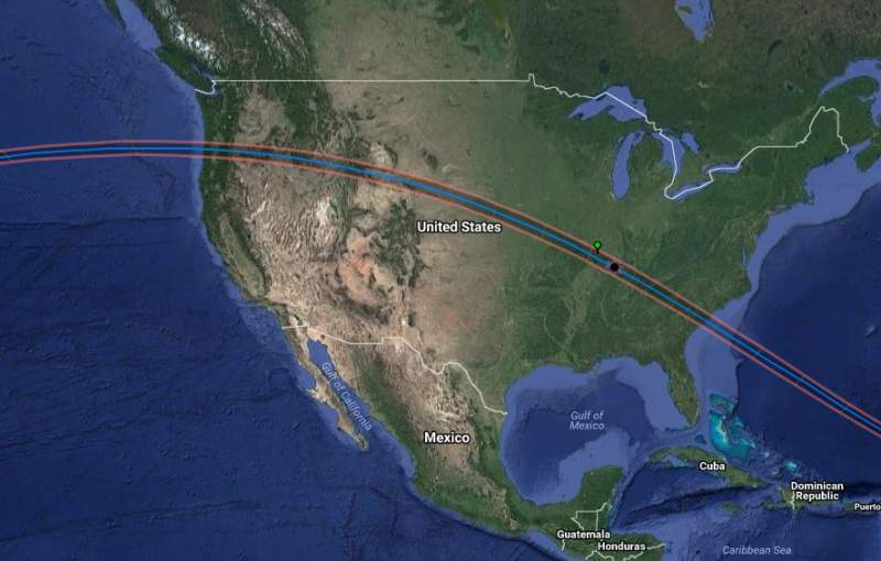 Solar Eclipse Map accross America