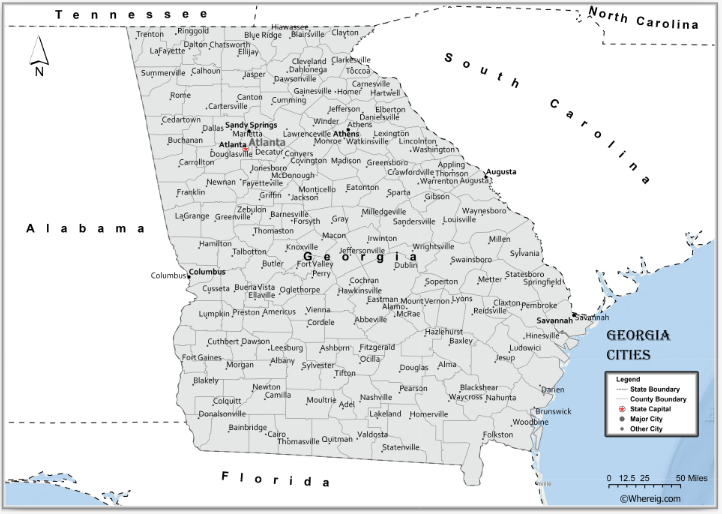 Map of Georgia Cities, List of Cities in Georgia