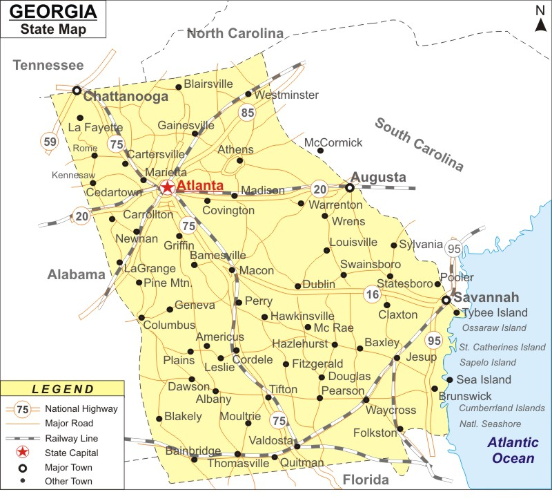 Map Of Georgia Showing Cities.Georgia Map Map Of Georgia With Cities Road River Highways