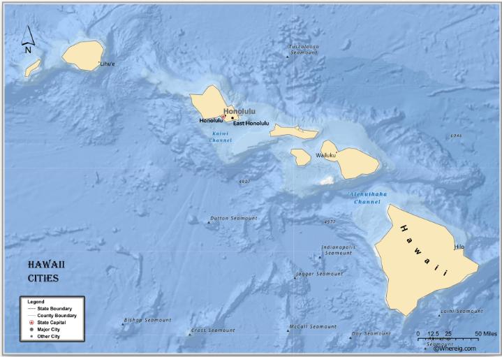 Map of Hawaii Cities, List of Cities in Hawaii