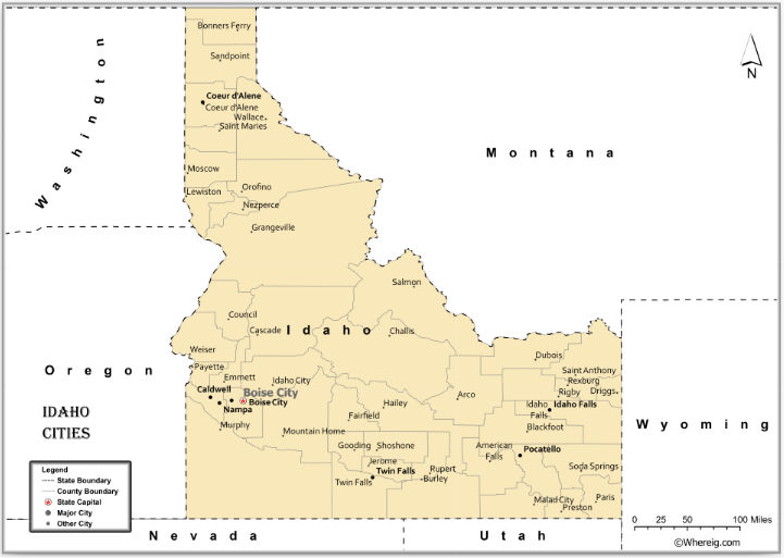 Map of Idaho Cities, List of Cities in Idaho