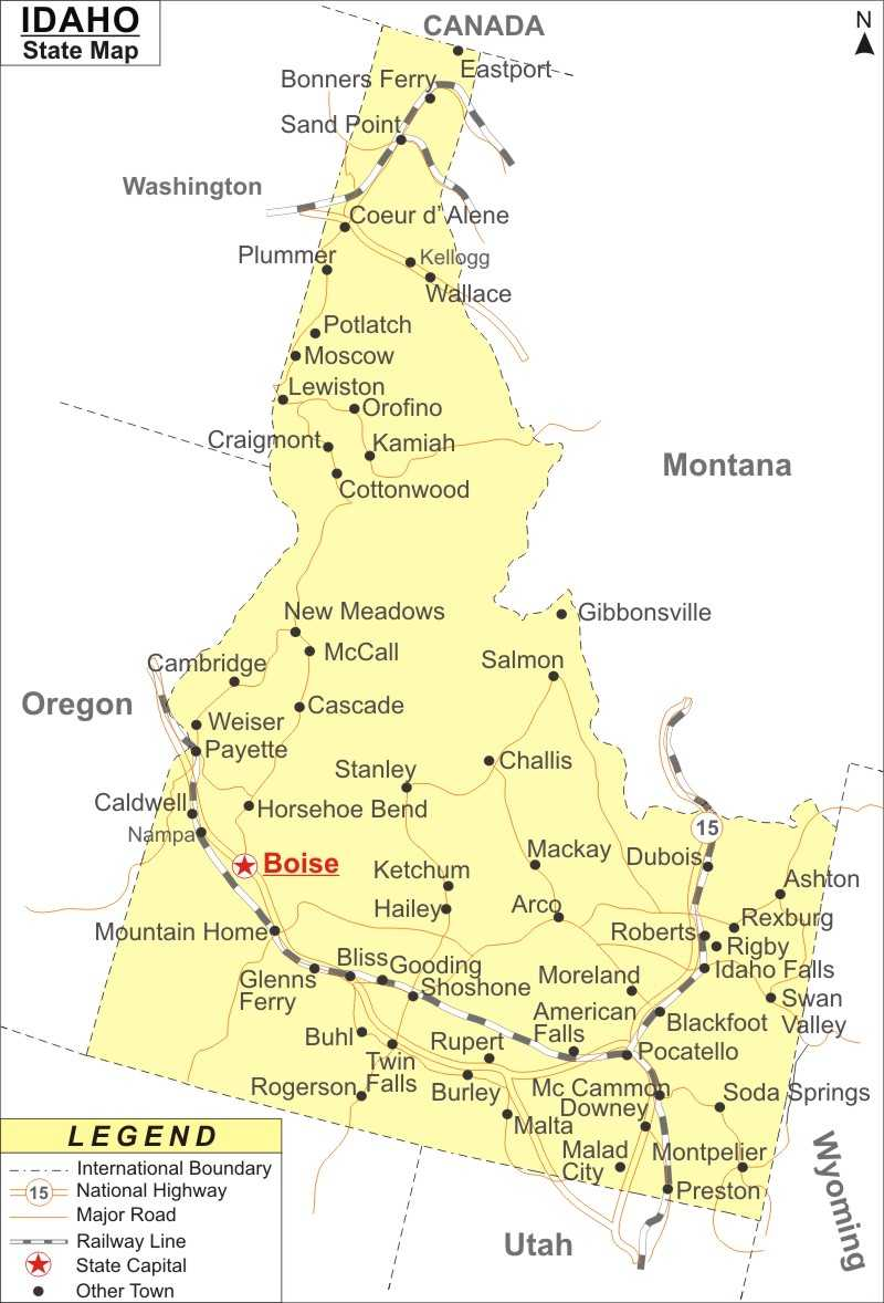 idaho map  map of idaho state  usa