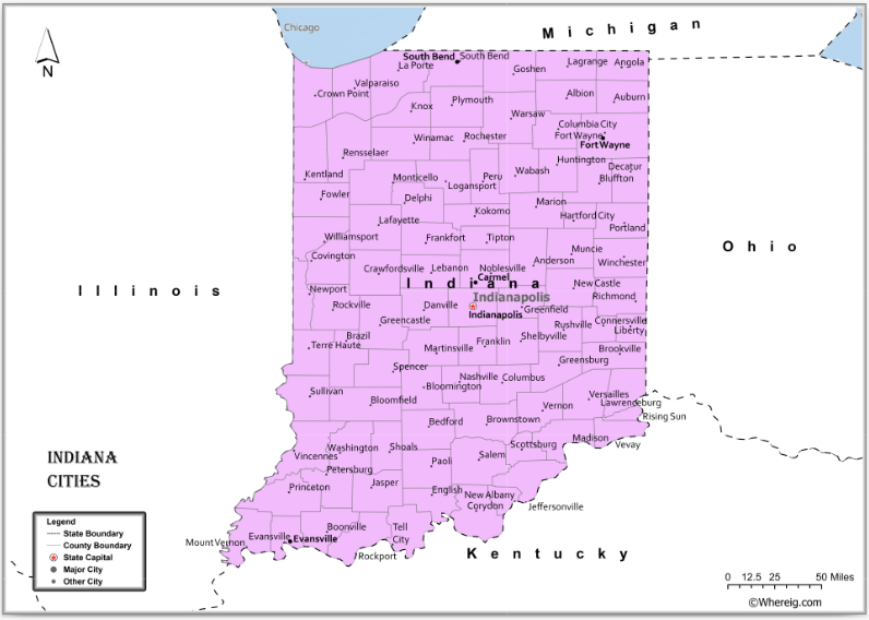 Map of Indiana Cities, List of Cities in Indiana