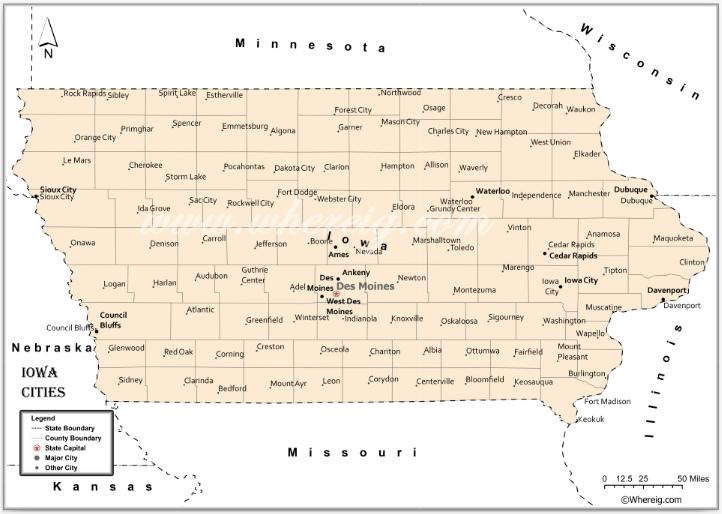 Map of Iowa Cities, List of Cities in Iowa