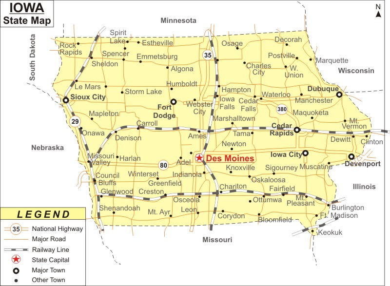 Iowa Map Map of Iowa Cities and Roads