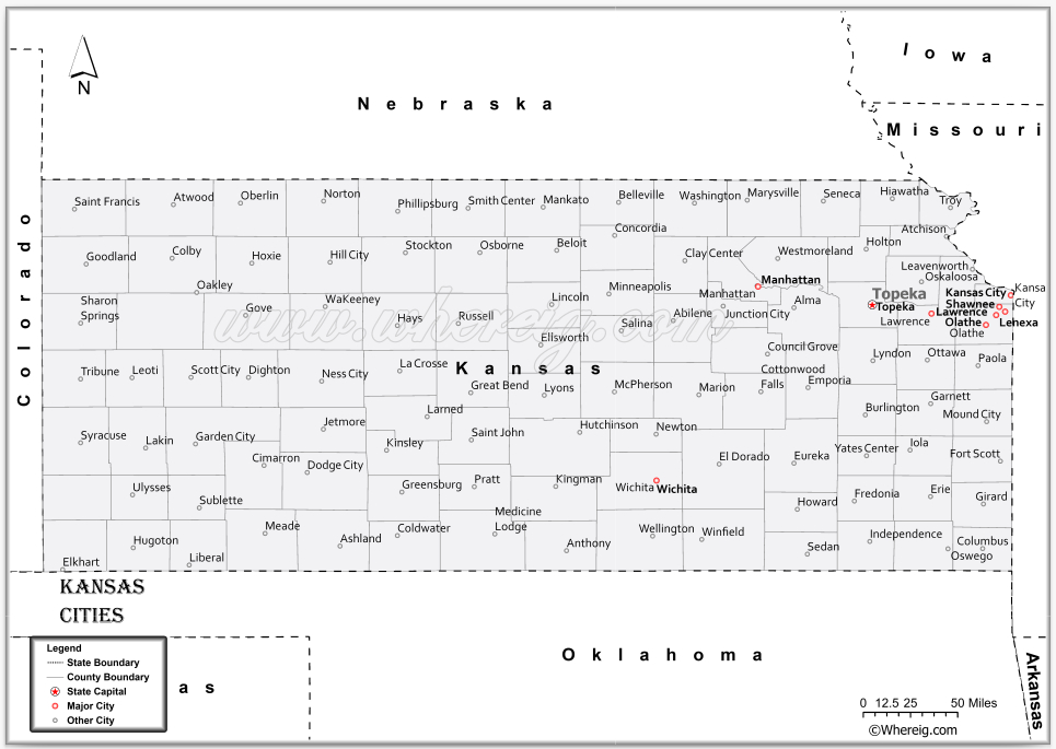 Map of Kansas Cities, List of Cities in Kansas