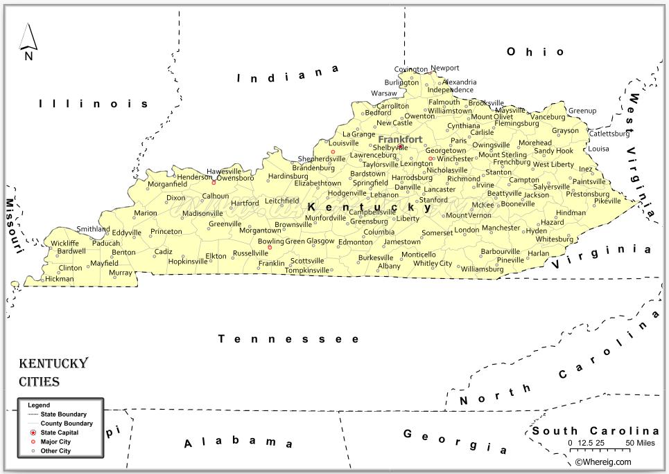 Map of Kentucky Cities, List of Cities in Kentucky